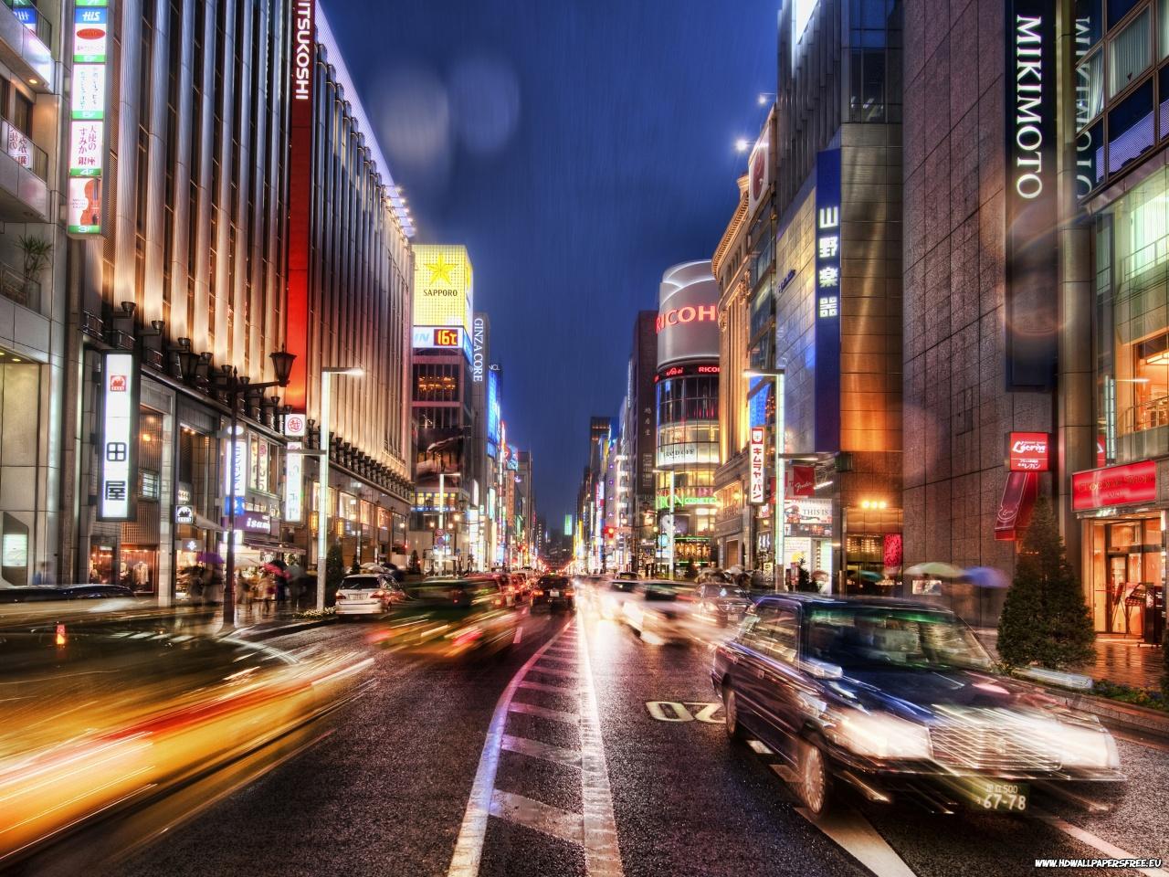 Download Tokyo Street at Night wallpaperdesktopiPad background 1280x960