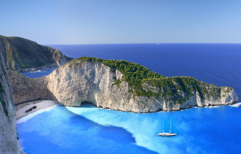 Wallpaper beach clouds rocks island Greece The Ionian sea 1332x850