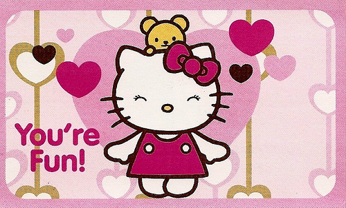 Hello Kitty Valentines Day Card pink brown 3 Flickr   Photo 500x302
