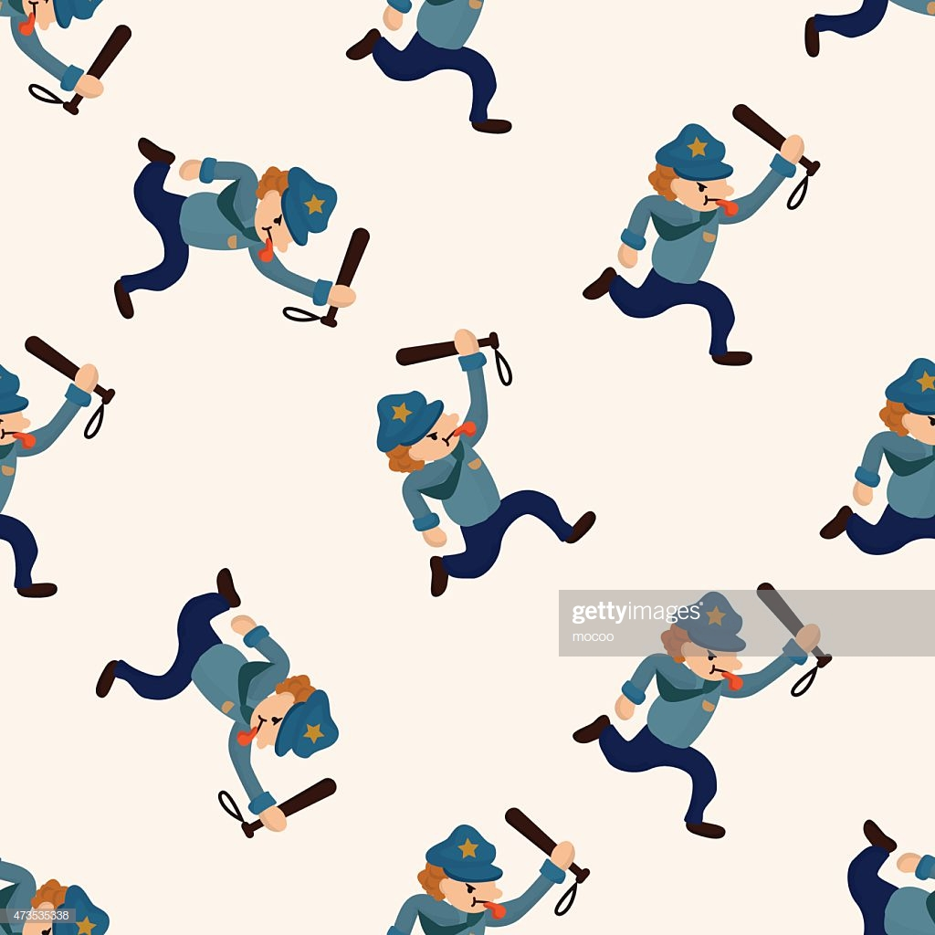 Policeman Cartoon Seamless Pattern Background High Res Vector 1024x1024