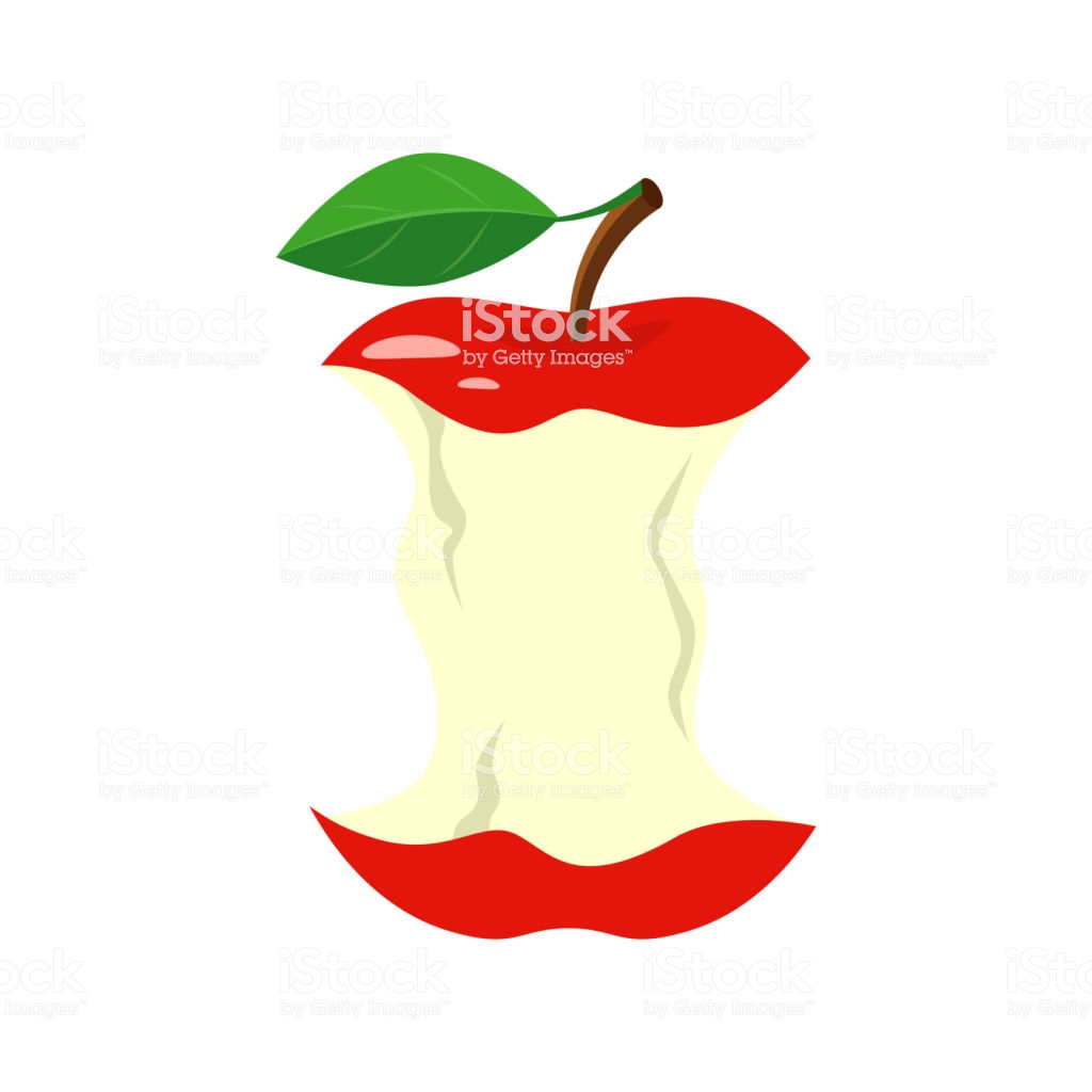 Red Apple Stub Vector Illustration Isolated On White Background 1024x1024
