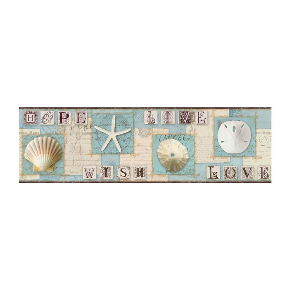Starfish and Seashells Wallpaper Border aqua beach nautical decor 960x960