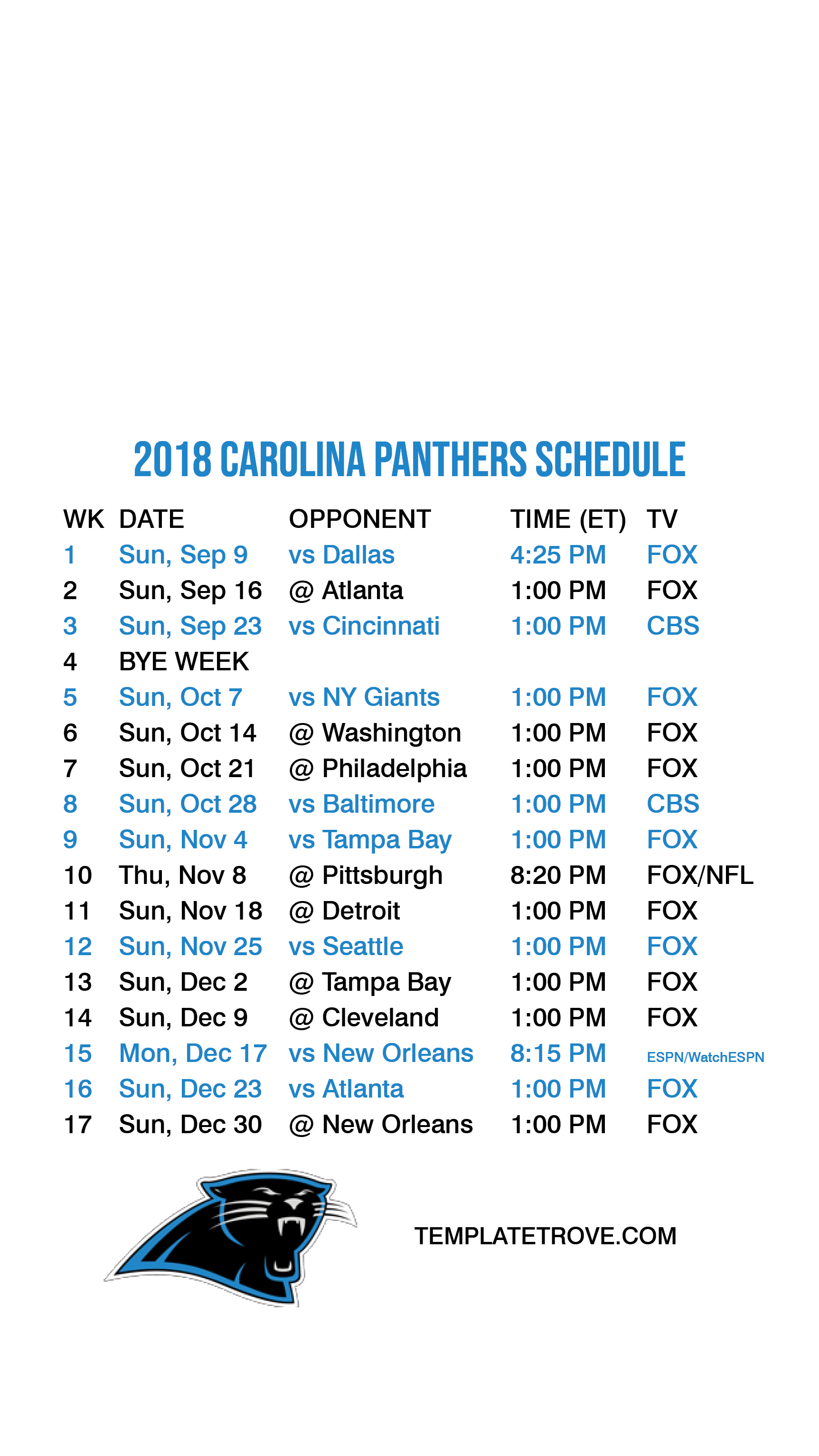 2018 2019 Carolina Panthers Lock Screen Schedule for iPhone 6 7 8 Plus 1725x3067