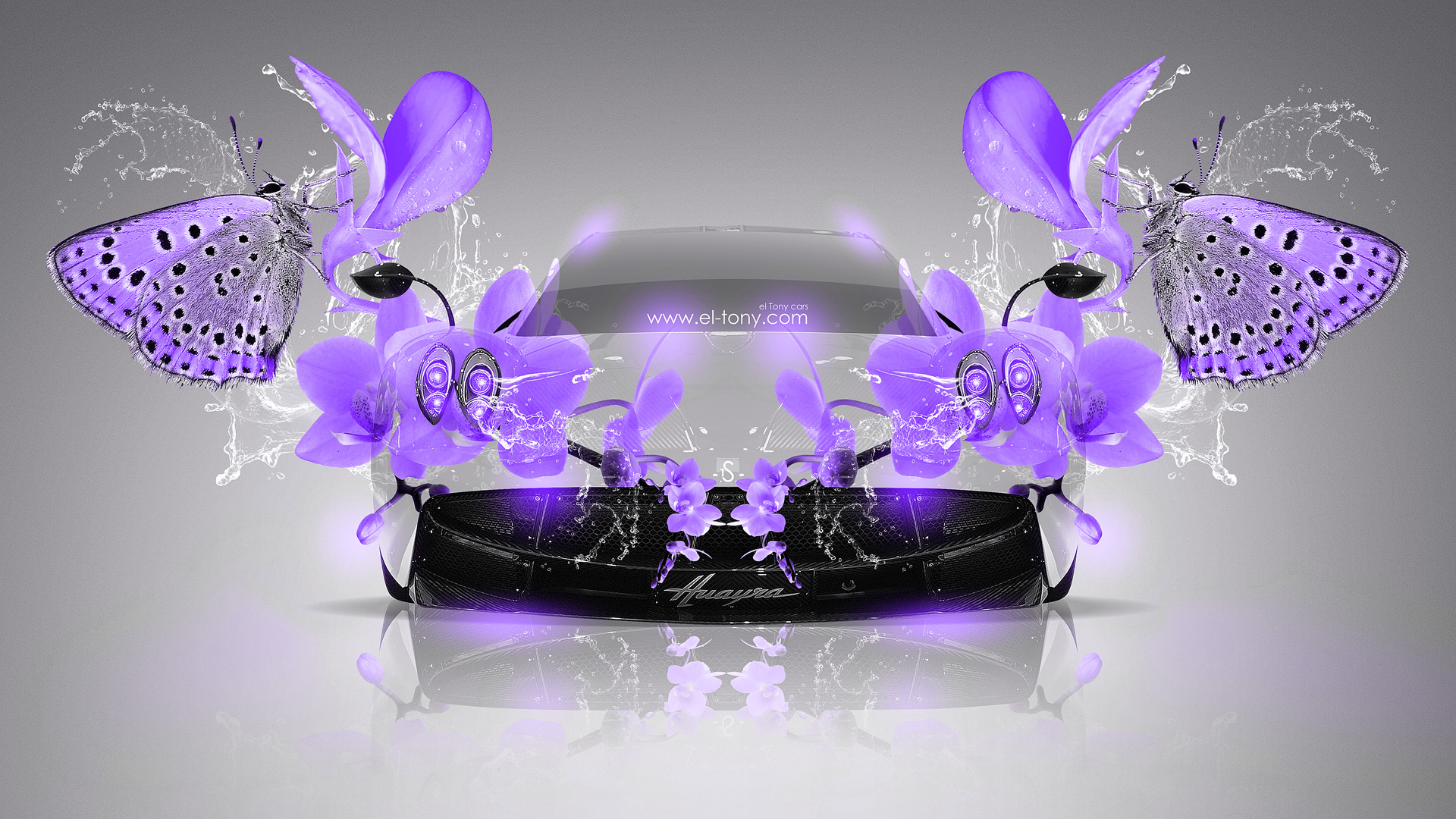 Pagani Huayra Fantasy Violet Neon Butterfly Flowers Car 2014 design by 1920x1080