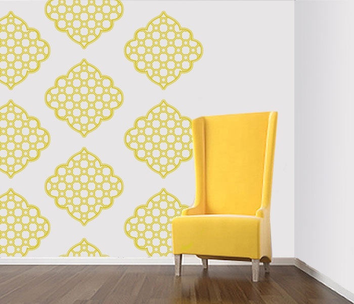 Wall Sticker   Brocade Damask Graphic Pattern   Wallpaper Design 700x601