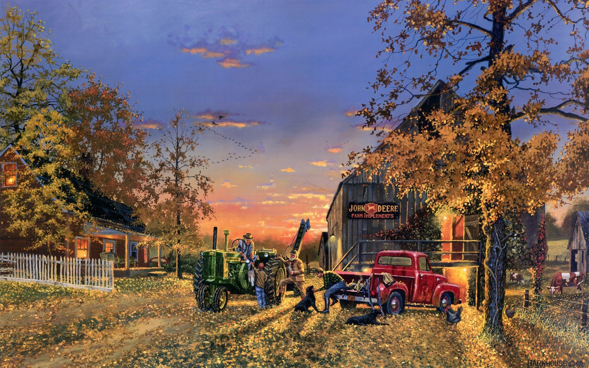 country artistic farm vehicles tractor people landscapes autumn fall 1920x1200