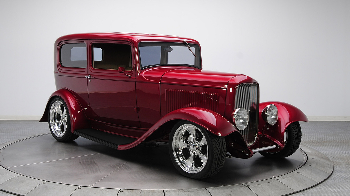 Red vintage Ford car wallpaper 38619 1366x768