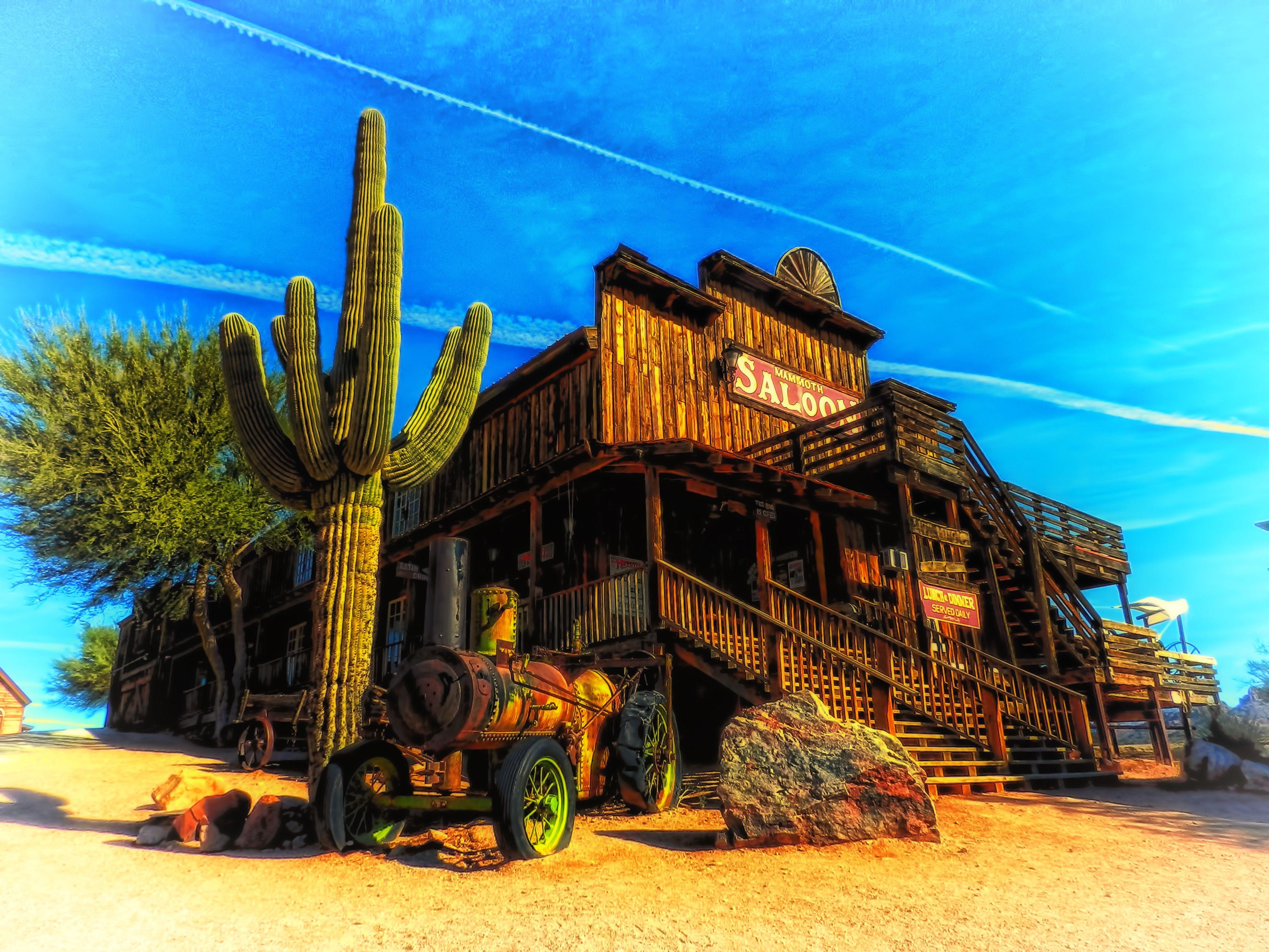 Arizona saloon cactus landscape western hdr f wallpaper 4000x3000 4000x3000
