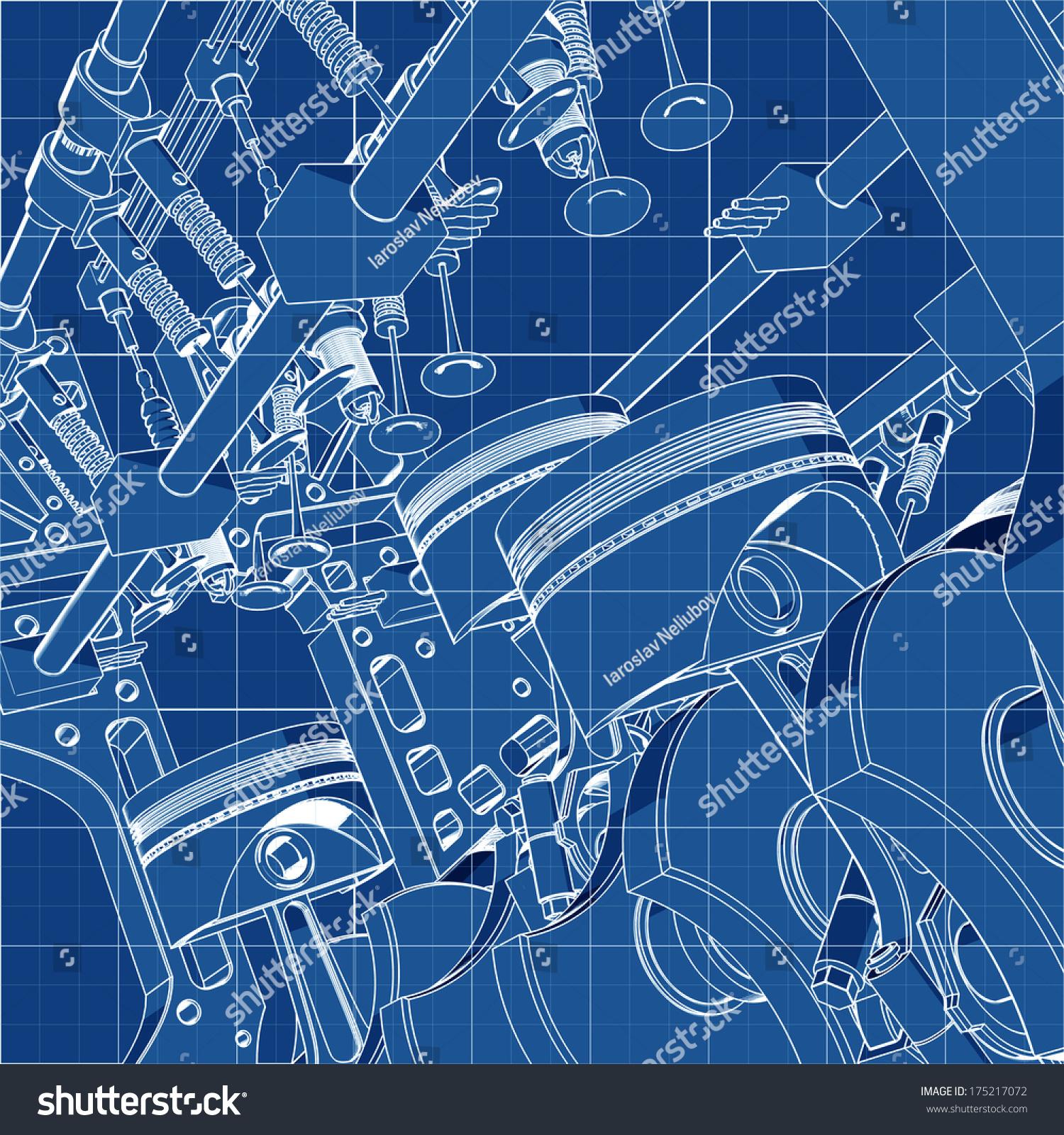 Royalty free V8 Car engine Cad cartoon white drawing 1500x1600