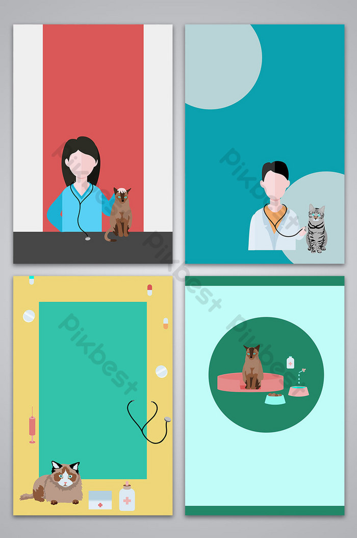 Vector pet hospital vet poster background image Backgrounds 700x1053