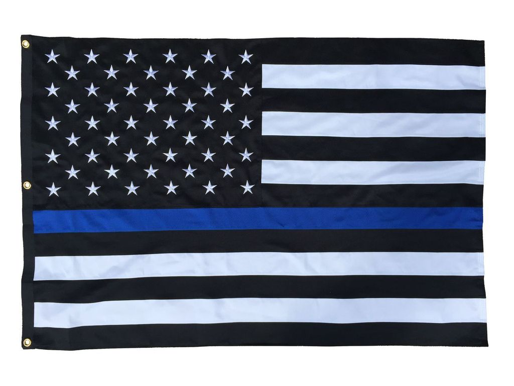 Police Thin Blue Line Black and White American Flag 4x6 Polyester 1024x768