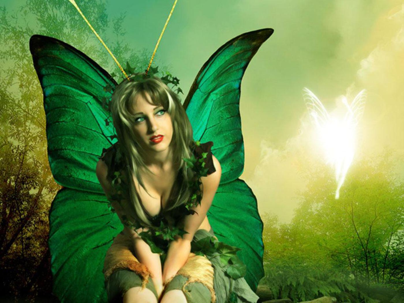 Green Butterfly Fairy Angel Wallpaper 1400x1050 Full HD Wallpapers 1400x1050