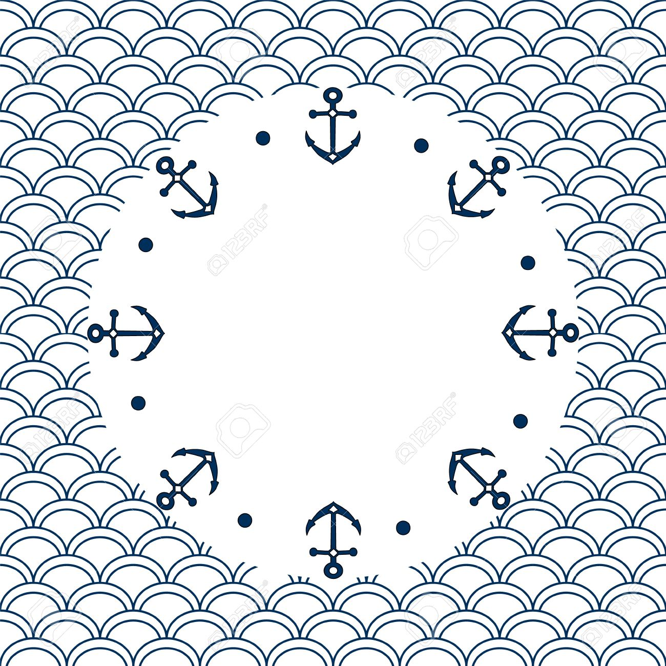 Navy Blue And White Roud Frame With Anchors On A Scalloped 1300x1300