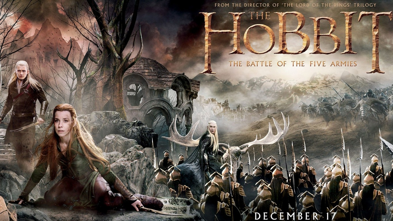 Download The Hobbit Battle Of Five Armies Movie Poster HD Wallpaper 1366x768