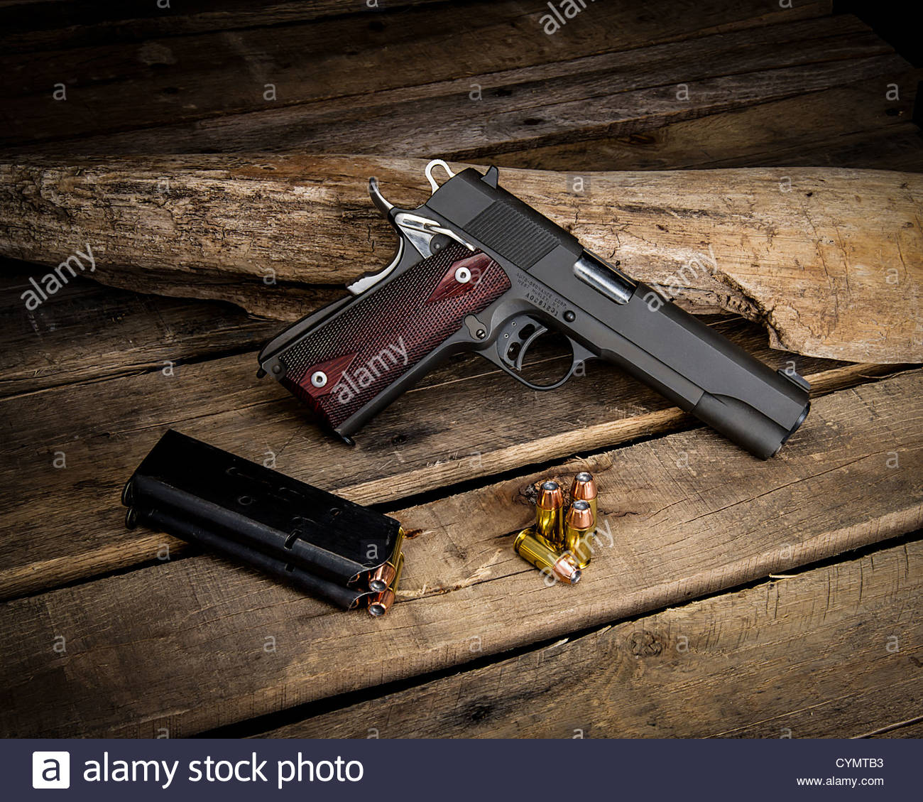 M1911 Pistol against a wooden background and displayed with a 1300x1129