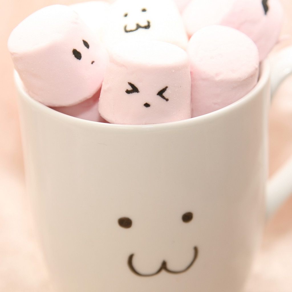 Cute Pink Marshmallow In Cup iPad Wallpaper Download iPhone 1024x1024
