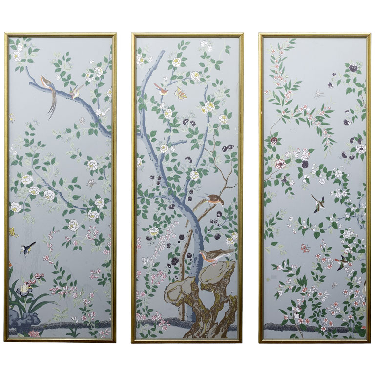 Hand Painted Chinoiserie Wallpaper Panels at 1stdibs 768x768