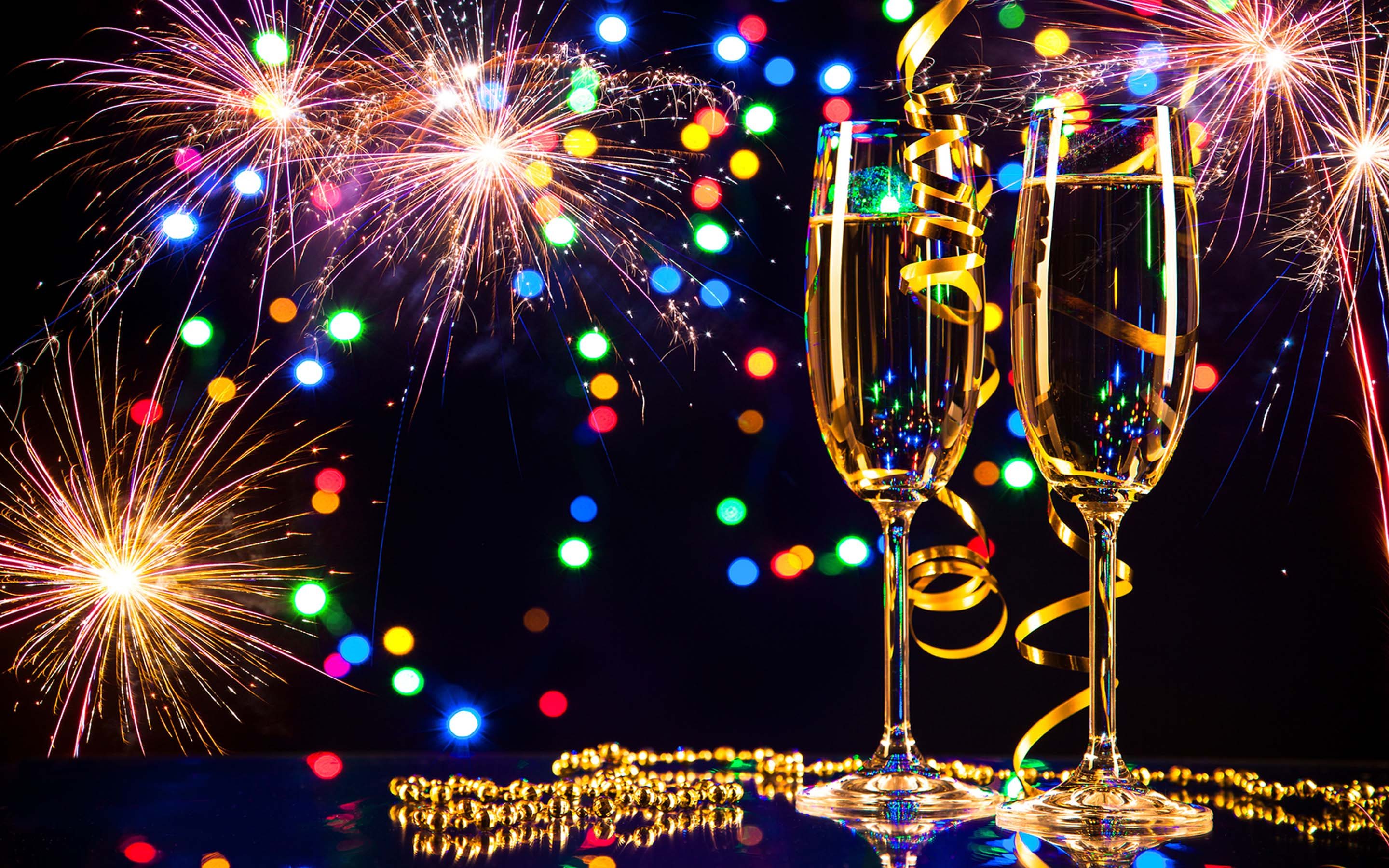 Happy New Year 2020 Glasses Of Champagne And Fireworks Desktop 2880x1800