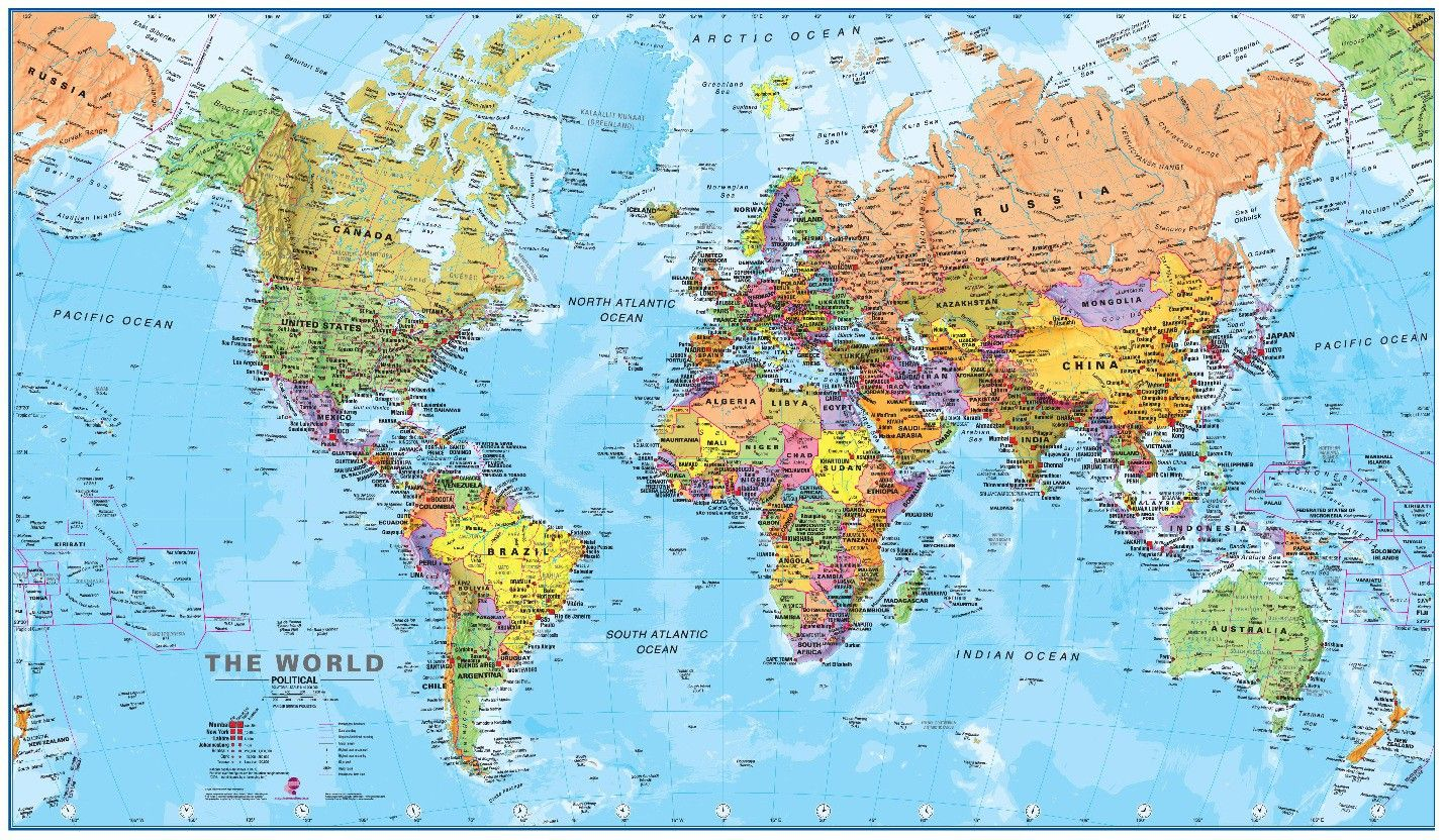 Hd Political World Map Poster Wallpapers Download World map 1430x832