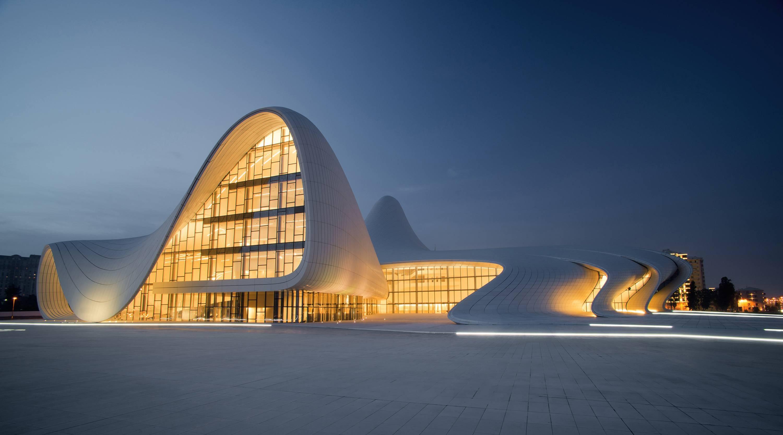 4552343 tiles evening lights building architecture Baku 3000x1666