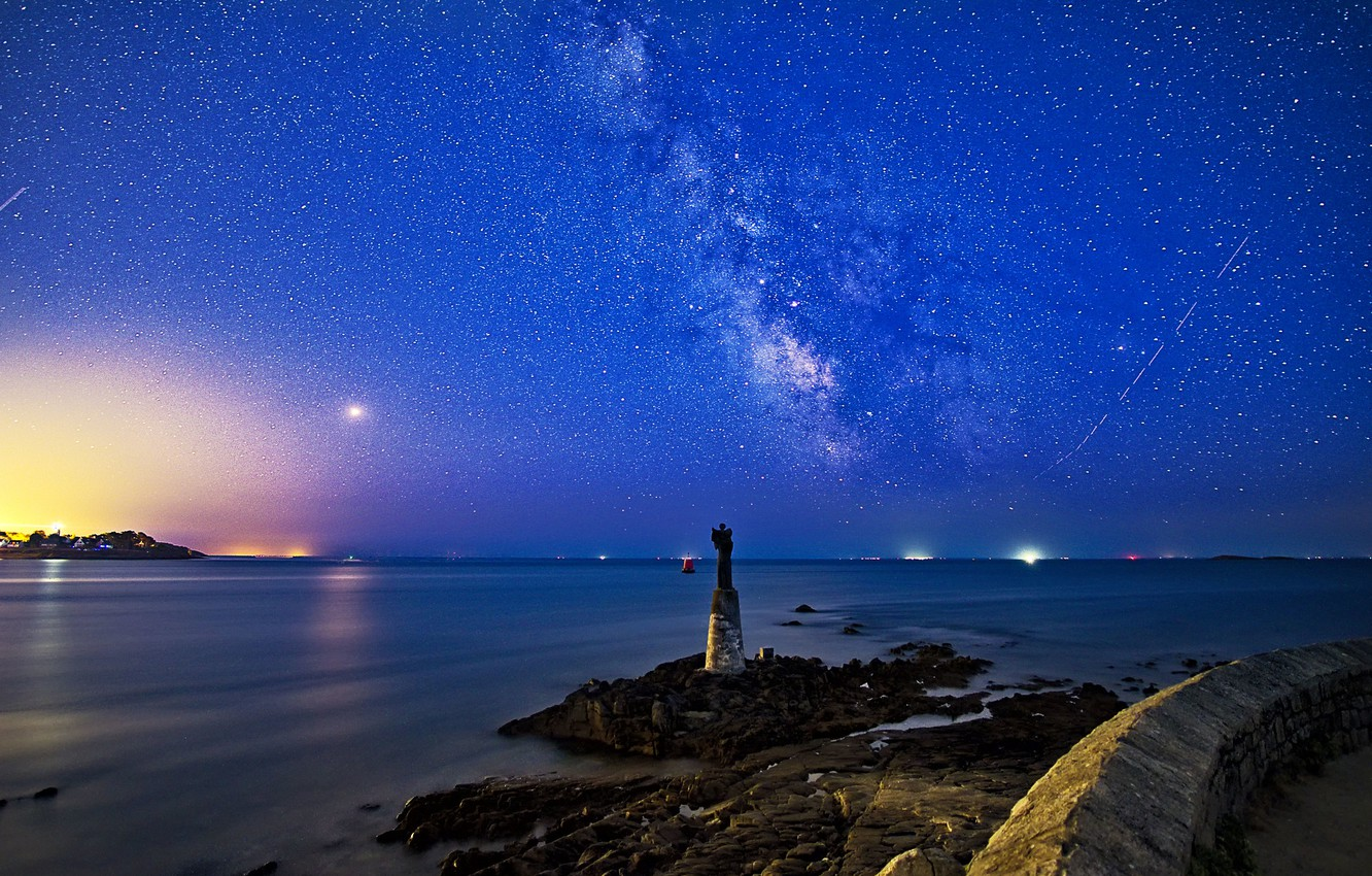 Wallpaper sea night France statue the milky way France 1332x850