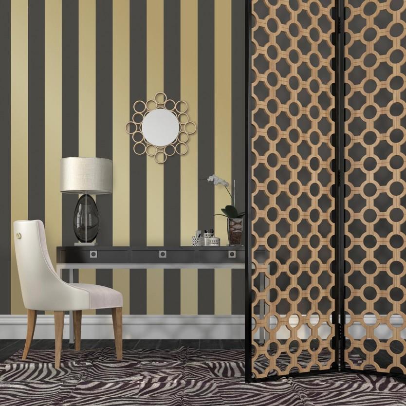 Temporary Wallpaper   Stripes   Gold 834x834