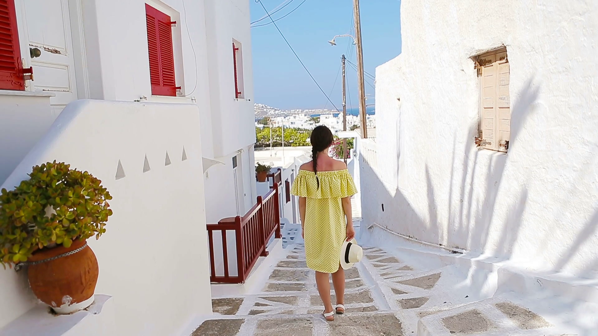 Beautiful woman outdoors in old streets an Mykonos Girl at street 1920x1080
