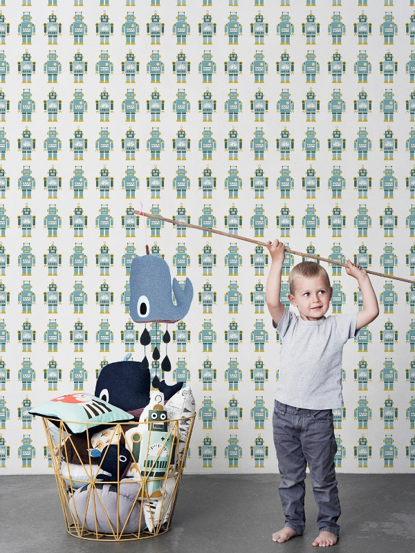 MOTIF KIDS WALLPAPER ROBOTS ROBOT COLLECTION BY FERM LIVING 600x800