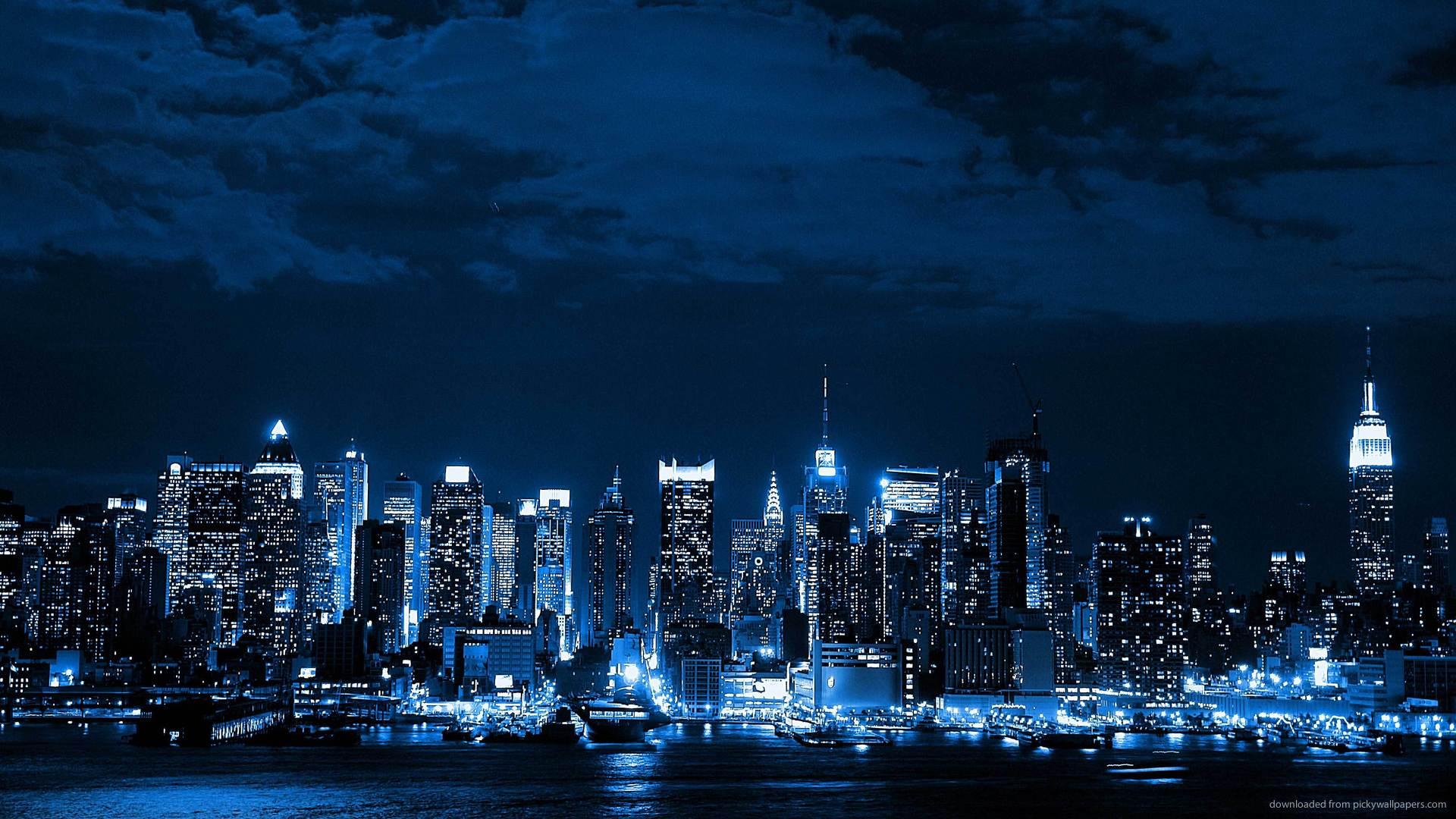 Blue Neon Cityscape picture 1920x1080