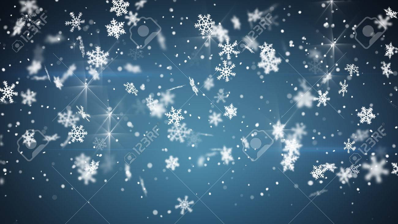 Snowfall On Blue Computer Generated Christmas Background Stock 1300x731