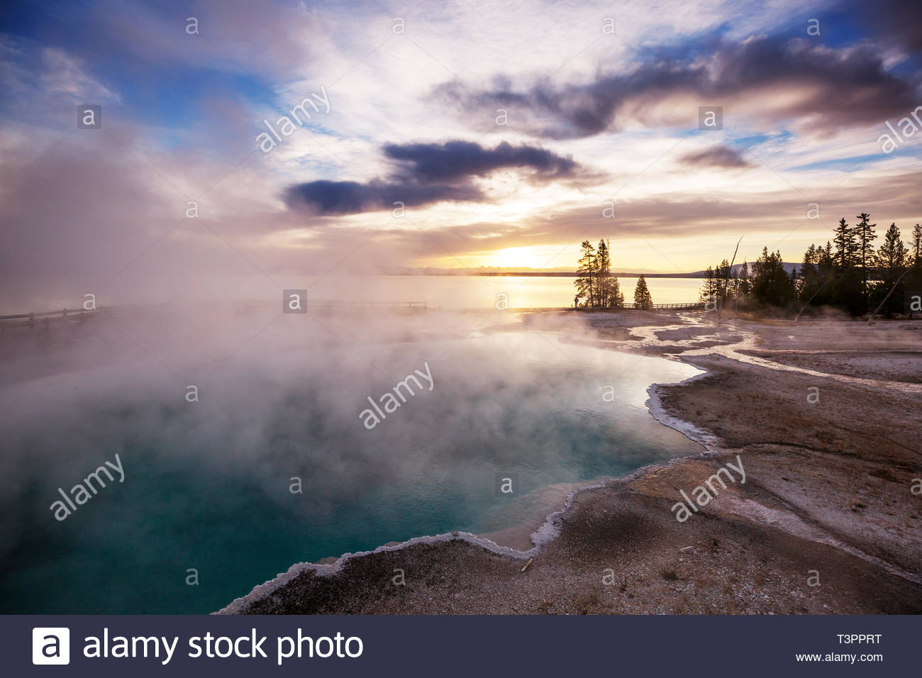 Inspiring natural background Wooden boardwalk along geyser fields 1300x956