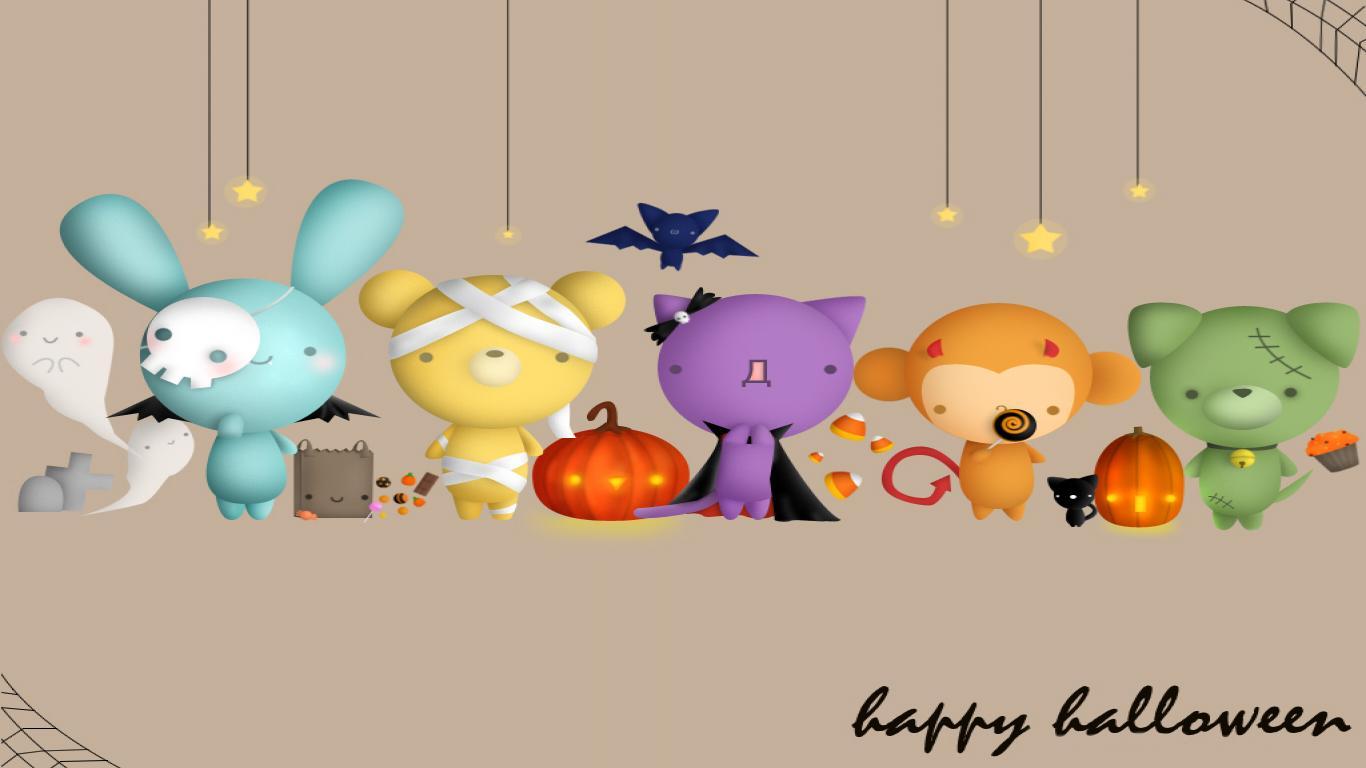 Cute Halloween Wallpaper For Android Wallpaper WallpaperLepi 1366x768