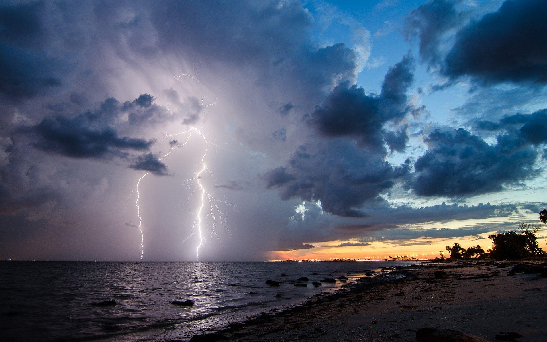 Lightning Clouds Storm Beach wallpaper 1920x1200 247994 1920x1200