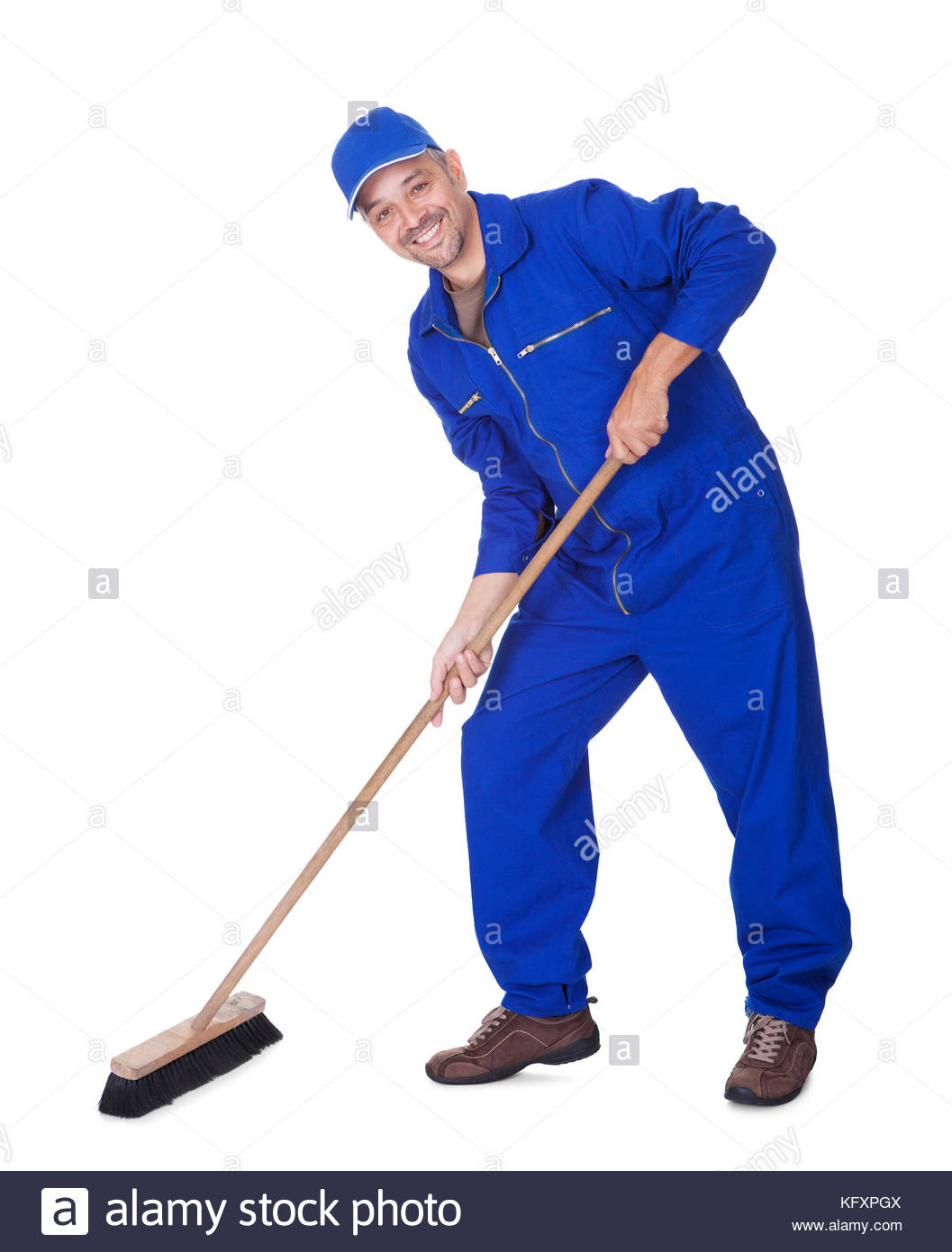 Happy Sweeper Cleaning Floor On White Background Stock Photo 1057x1390