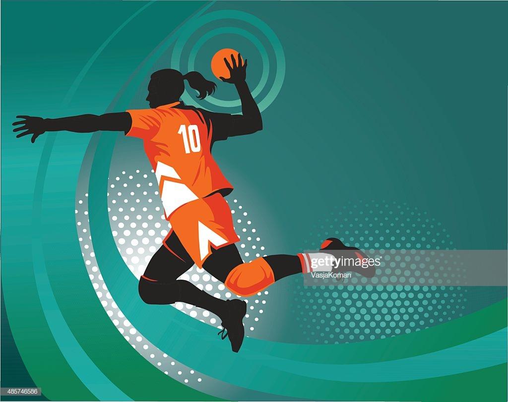 Handball Player Jumping To Shoot Green Background High Res Vector 1024x811