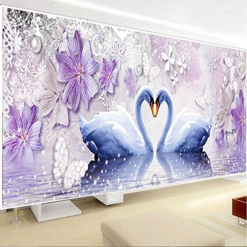 DIY Diamond 5D Eternal Love Diamond Painting Swan Round Etsy 794x794
