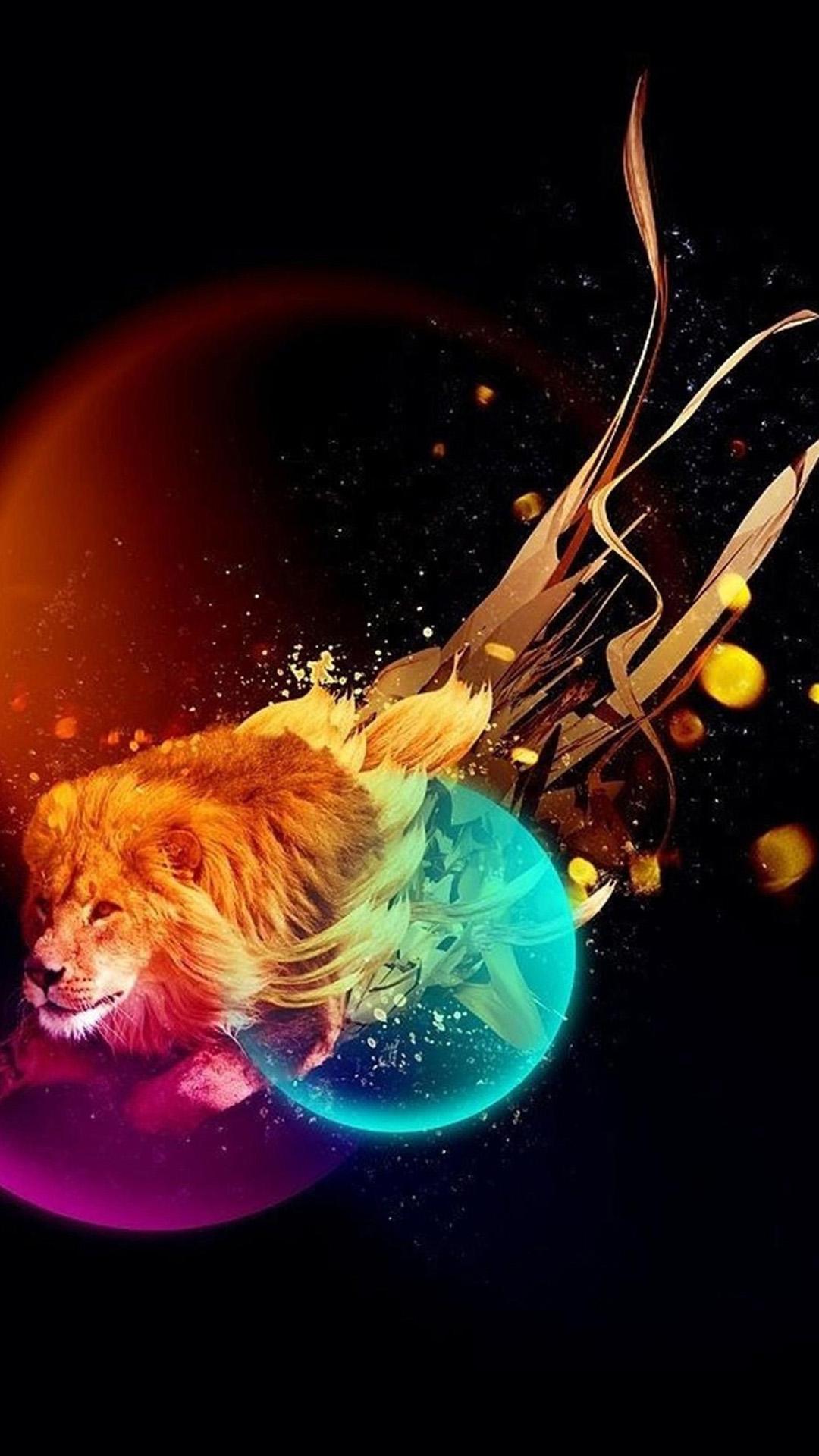 Fractal Art Design Colorful Lion Wallpape...