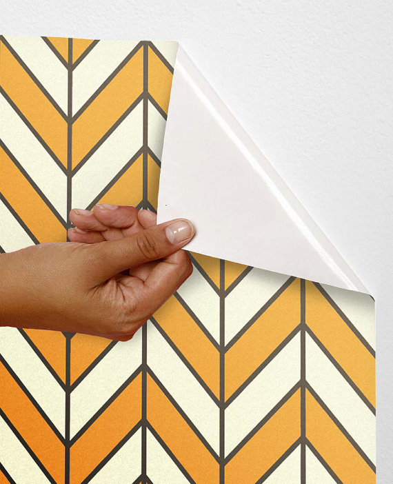 Removable self adhesive vinyl Wallpaper wall sticker decal  Chevron 570x702