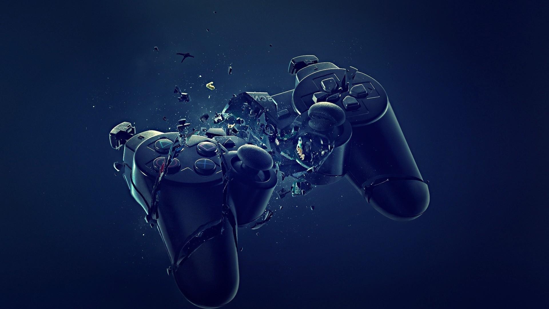 abstract blue black dark broken PlayStation joysticks controller 1920x1080