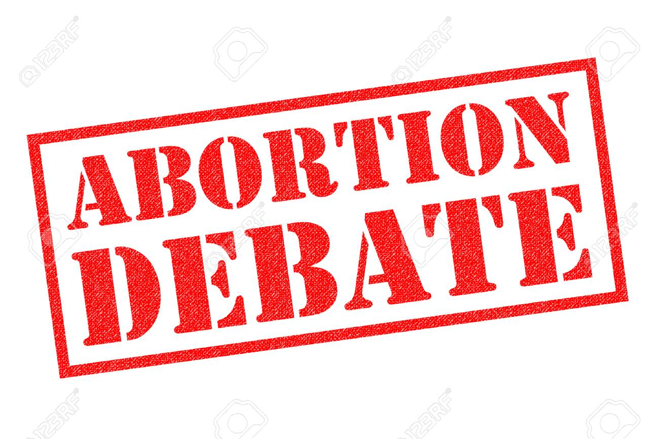 ABORTION DEBATE Red Rubber Stamp Over A White Background Stock 1300x866