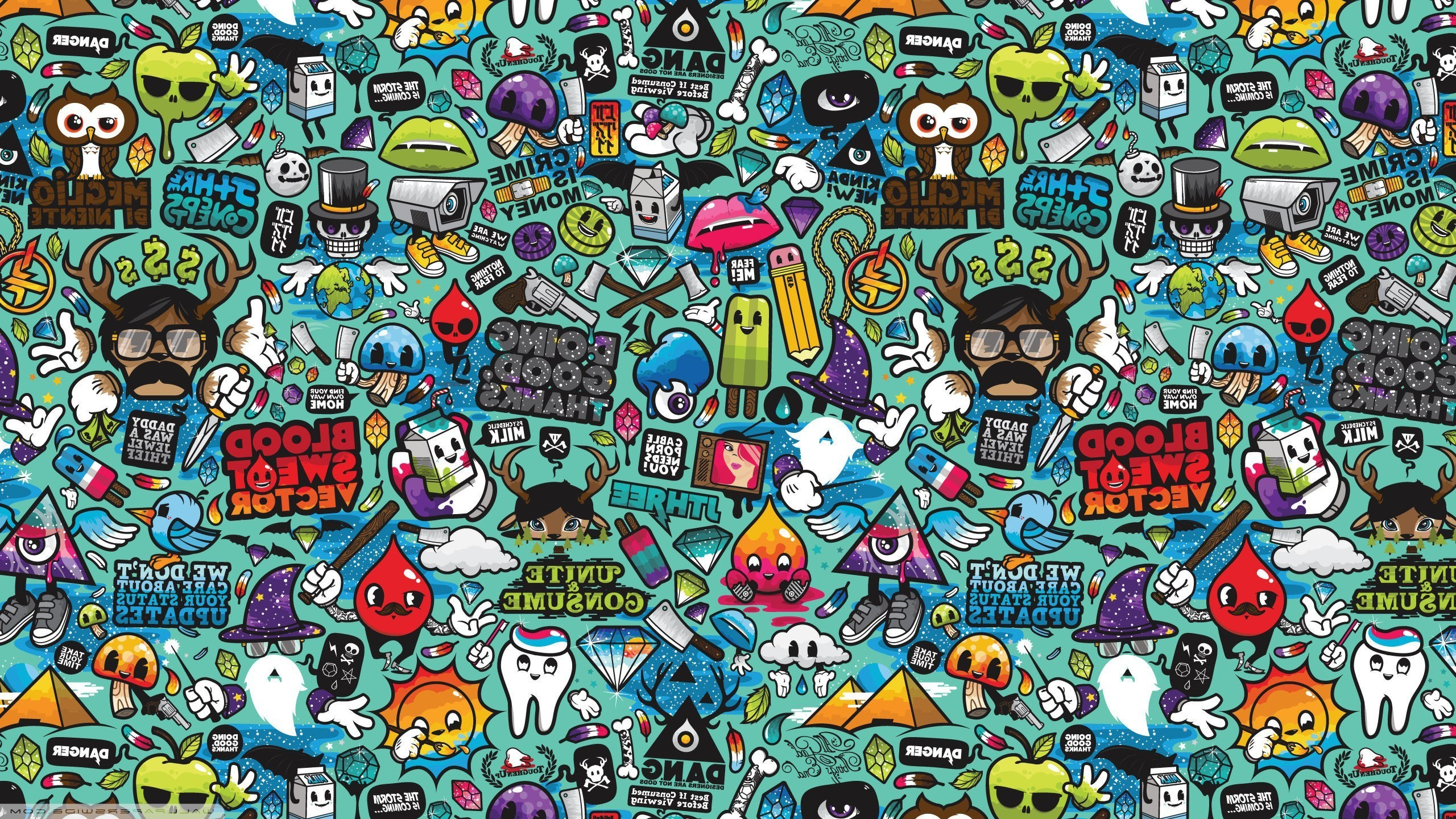abstract Pop Art Anime Jared Nickerson Artwork Wallpapers HD 2560x1440