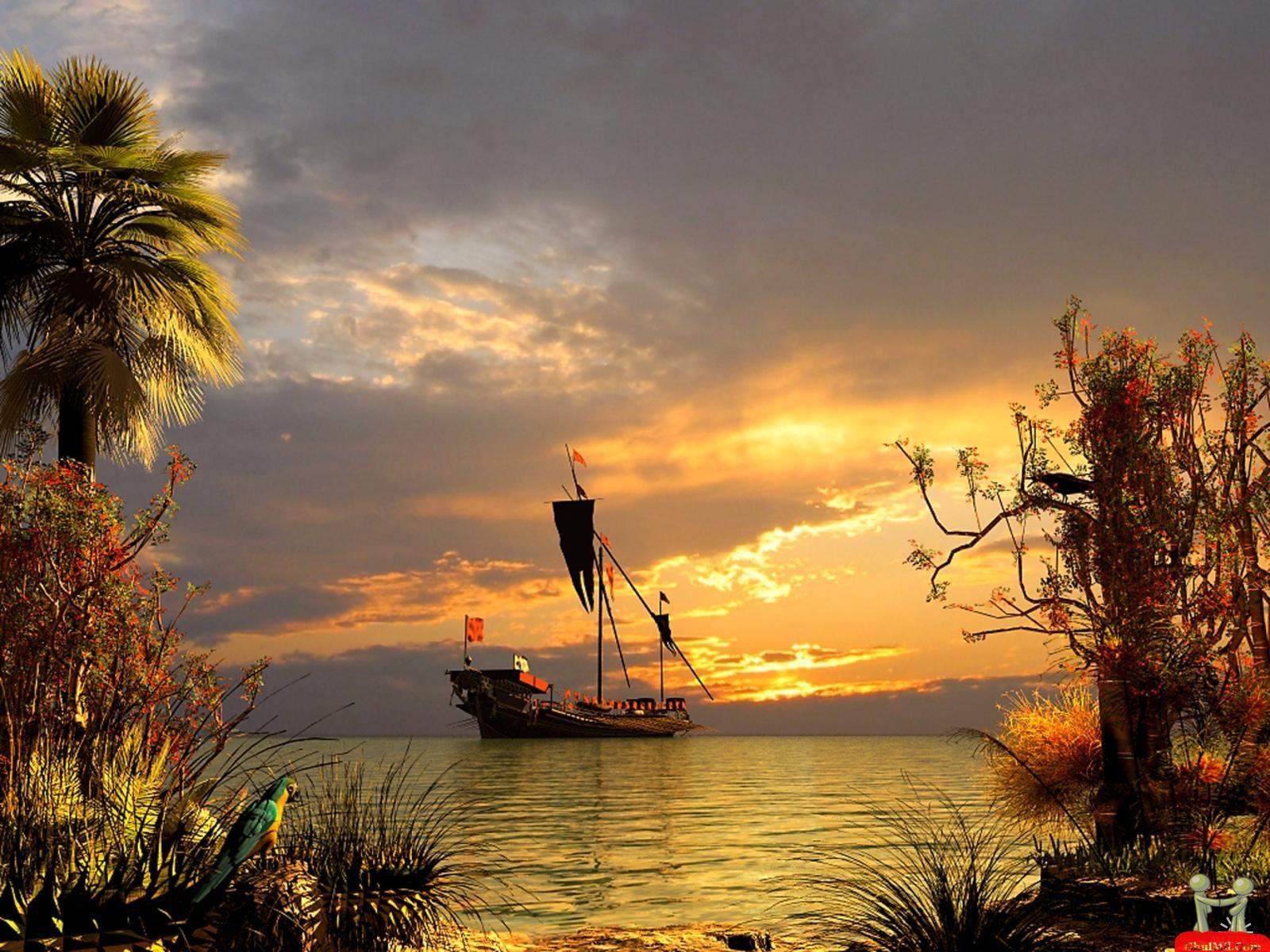Beautiful 3D Pirates Ship Wallpaper | E-Entertainment