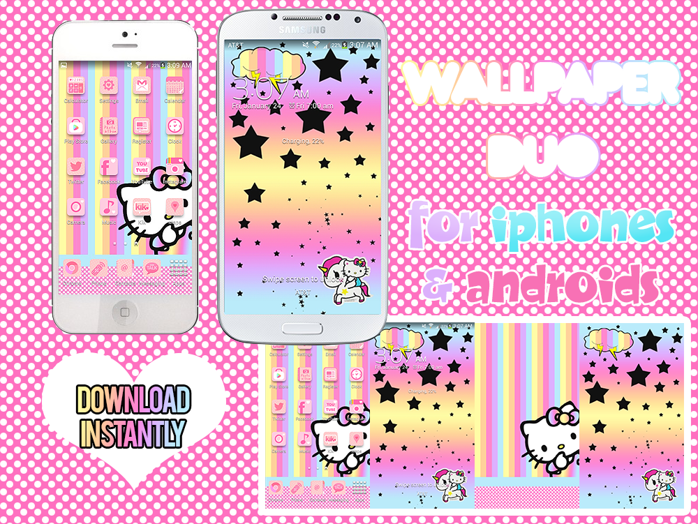 Free Download Pastel Rainbow Hello Kitty Wallpaper Duo For