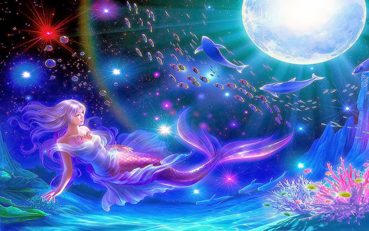 All new wallpaper Mermaid moon fantasy widescreen hd 1280x800