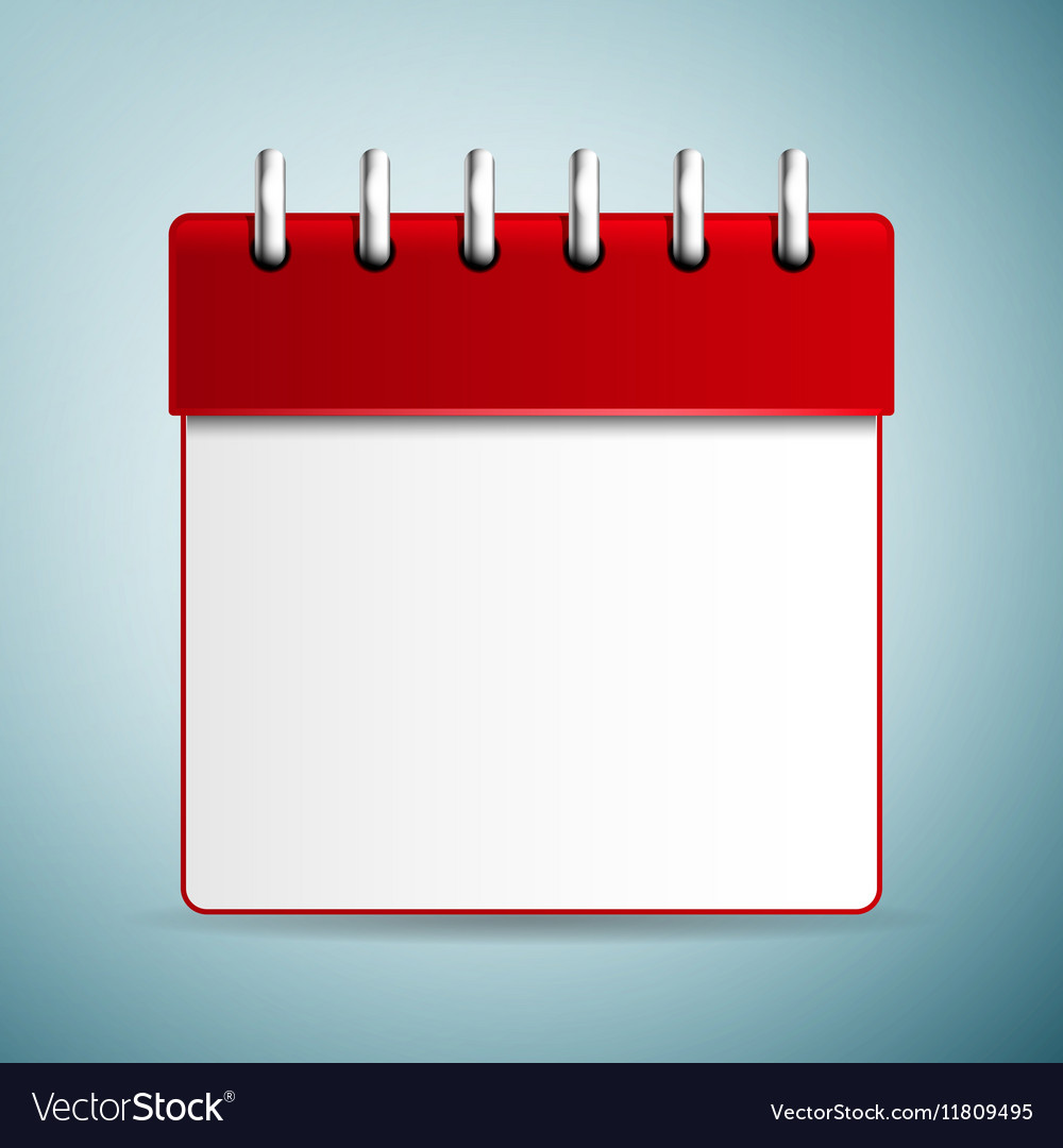Calendar red icon isolated on blue background Vector Image 1000x1080