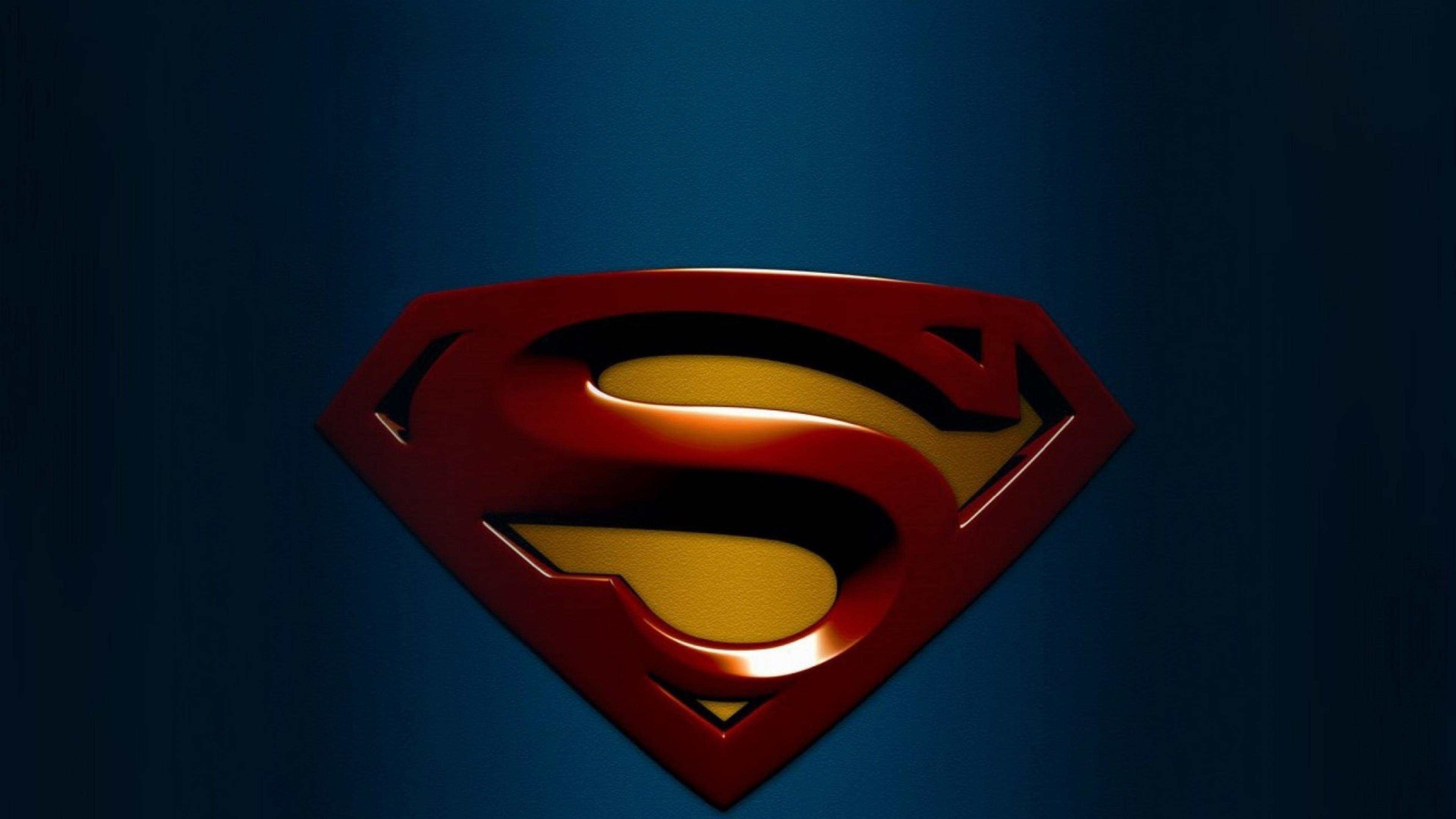 Download Wallpaper 3840x2160 superman blue background logo 4K Ultra 3840x2160