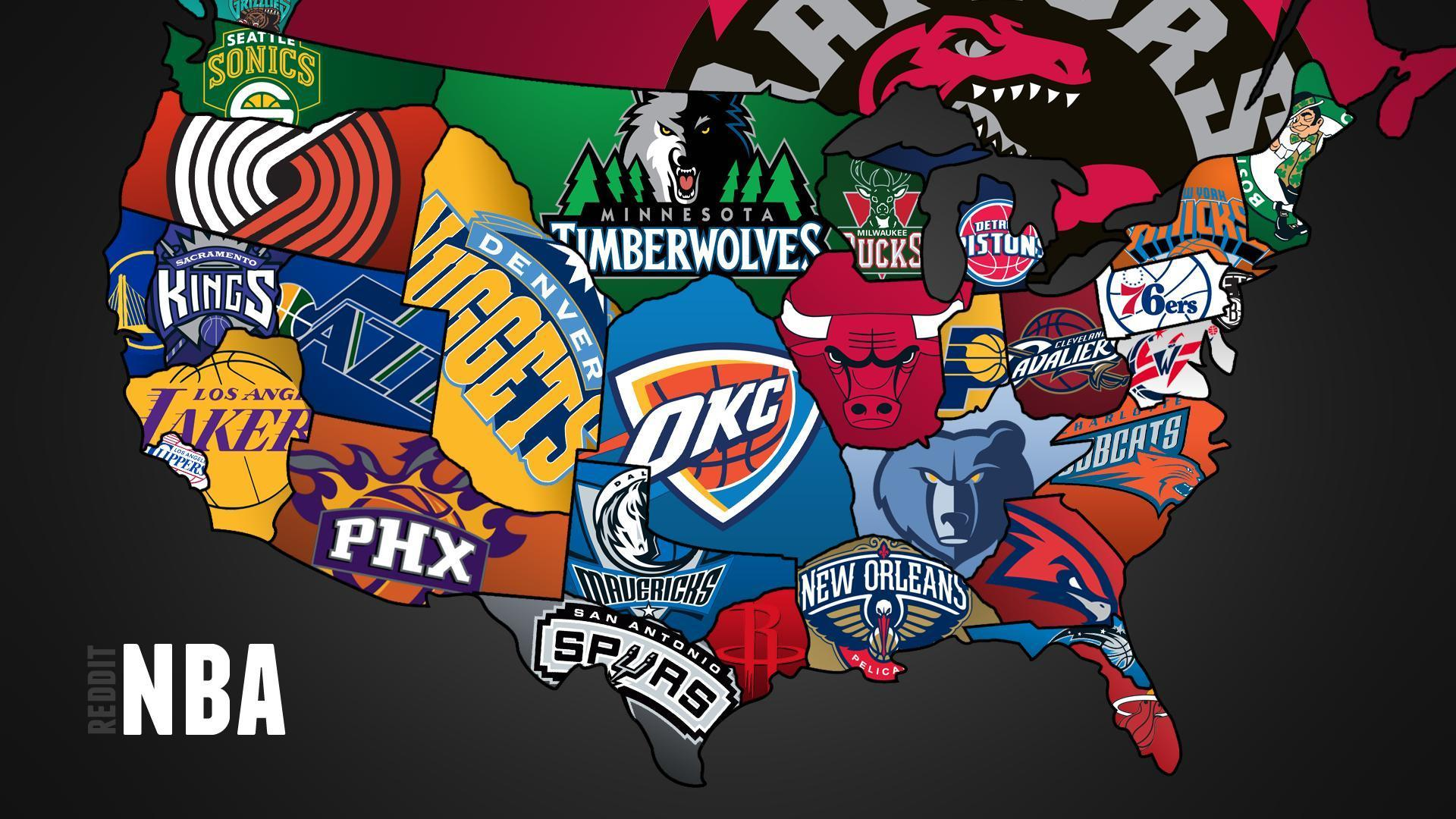 Cool map of NBA teams 1920x1080 Full HD 169 Wallpaper 1772 on 1920x1080