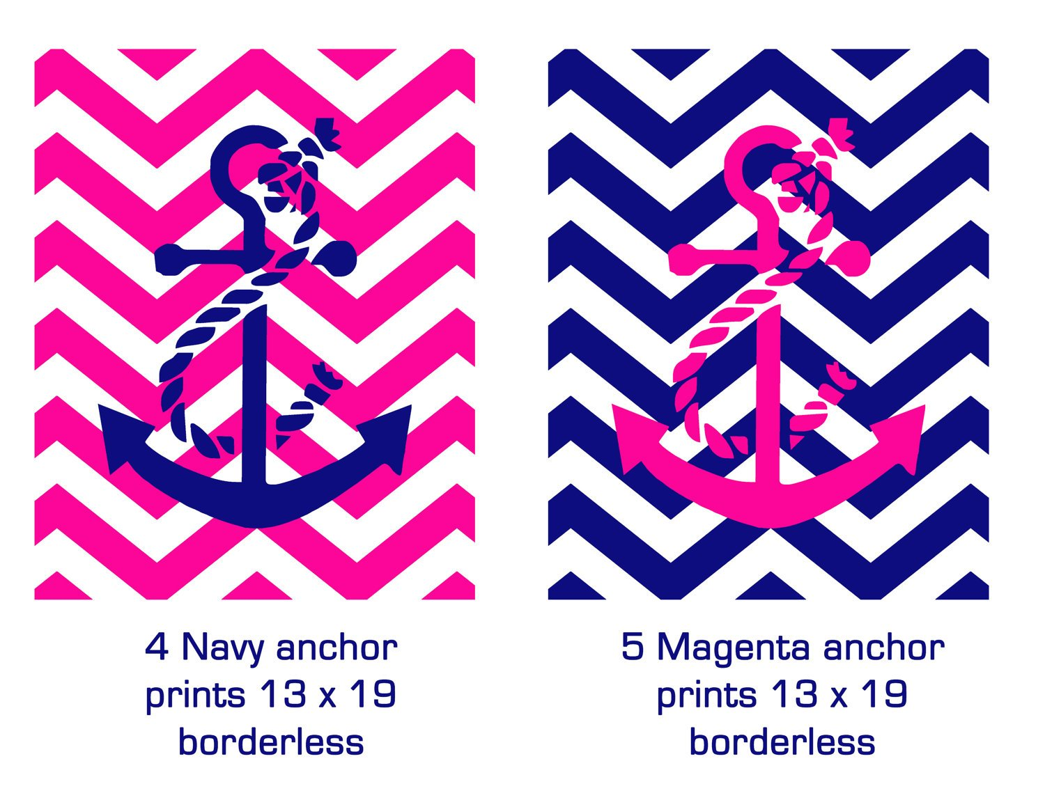 Anchor Chevron Backgrounds Customorder for anchor set of nine prints 1500x1159