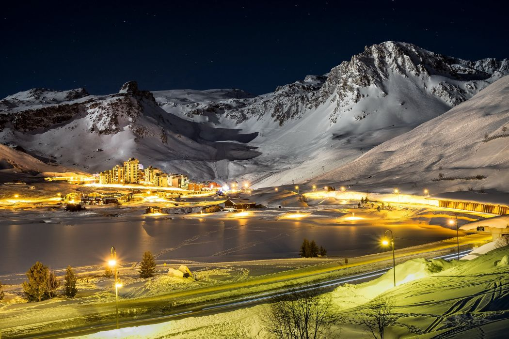 France Winter Mountains Roads Houses Snow Night Street lights 1050x700