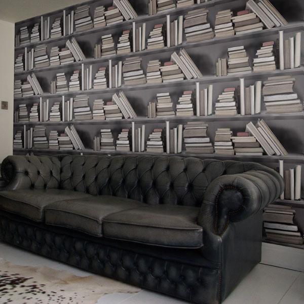 Fake Bookshelf Wallpaper IDesignArch Interior Design Architecture 600x600